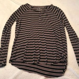 Navy blue and red striped long sleeve loose T
